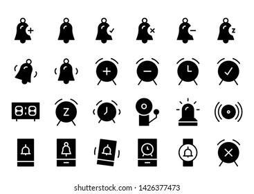 clocks glyph icon symbol set