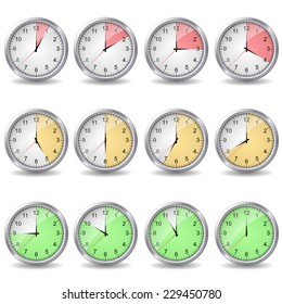 clocks showing different time in traffic light style. vector illustrations