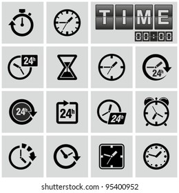 Clocks, time icons set.