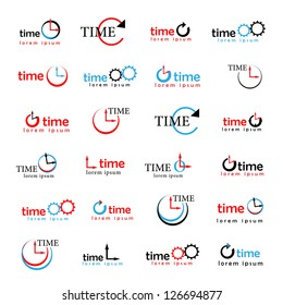 Clocks, Times Symbols Isolated On White Background - Vector Illustration, Graphic Design Editable For Your Design. Time Logo