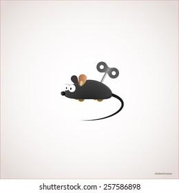 Clockwork mouse, Vector illustration eps 10