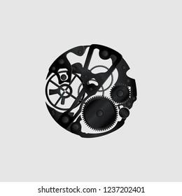 Clockwork on a gray background. Vector illustration.