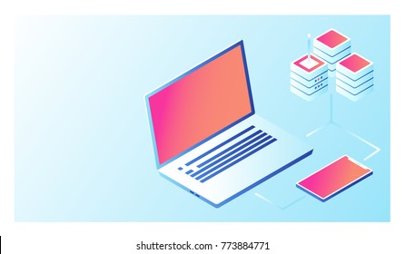 Clone data on cloud service with smartphone and laptop, mobile device, cloud data storage, server room database isometric 3d vector illustration