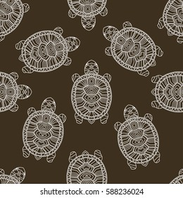 Cloring page for adults. Seamless vector patterns with turtles.