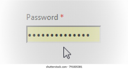 Close Up Arrow Cursor and Password Authorization Form login Field on Computer LCD Screen Pixel Background  - Vector Macro Image Digital Concept Screenshot