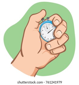 Close body part, hand holding a stopwatch, timing, caucasian. Ideal for educational and institutional training materials