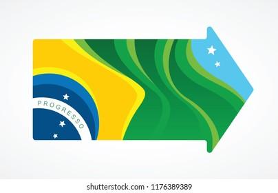 Close up of Brazil flag inside an arrow