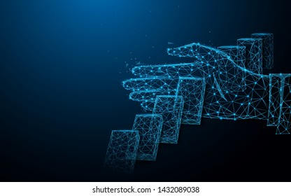 Close up of businessman hand Stopping Falling dominos effect. lines, triangles and particle style design. Illustration vector