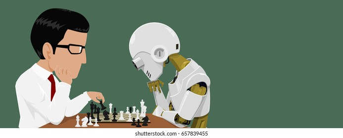 Close up of Businessman and robot are playing chess