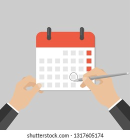 Close up businessman's hand with pen and calendar. Doing project schedule. Business plan concept. Making a reservation. Vector isolated illustration