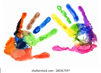 Close up of colored hand print on white background. Vector