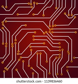 Close up of colored micro circuit board. Abstract technology background. Computer mechanism in details