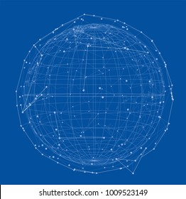 Close up of the Earth and a network lines on top of it. Concept of globalisation. A beautiful element for your design. Vector EPS10 format, rendering of 3d