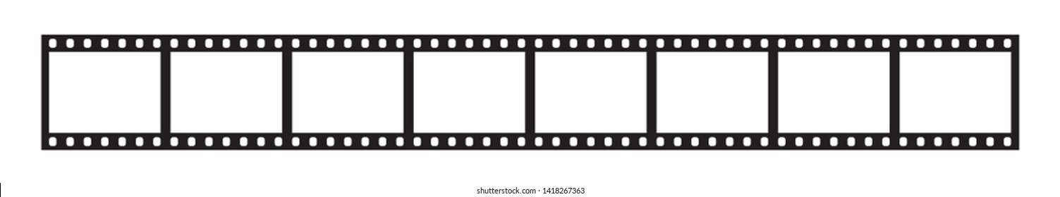 Close up eight empty frames of classical 35 mm film strip isolated on white background