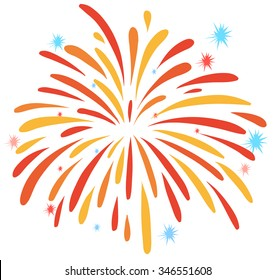 Close up firework on white illustration