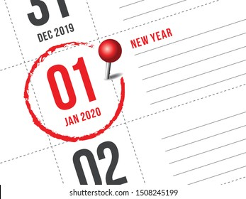Close up of first day of the year 2020 on diary calendar. New year is the first day of the year in the Gregorian calendar.