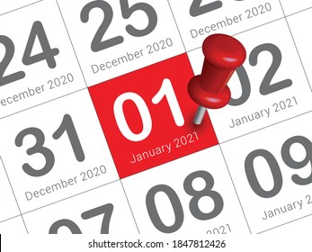 Close up of first day of the year 2021 on diary calendar, simple and clean design vector.