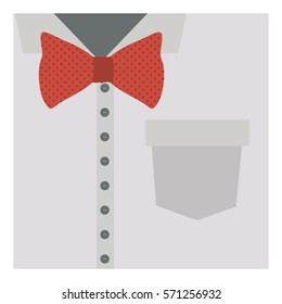 close up formal shirt with red bow tie