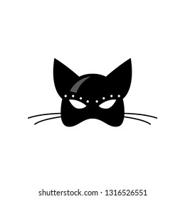 Close up front view of female latex cat mask isolated on white background.
