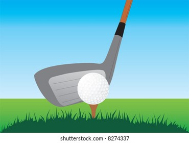 Close up of a golf stick and ball