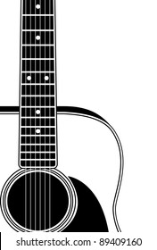 close up guitar silhouette with copy space