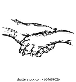 close up hand of man and dog shaking, vector illustration sketch hand drawn with black lines, isolated on white background