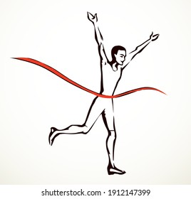Close up happy speed strong young human jog recreation leader ribbon white text space. Outline black hand drawn 1 best fast outdoor health business concept logo emblem design cartoon art doodle style