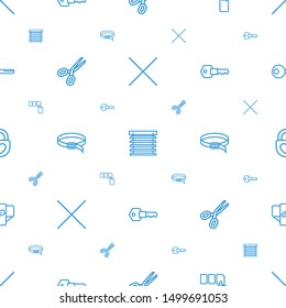 close icons pattern seamless white background. Included editable outline cancel, window shutter, push button, scissors, belt, key, heart lock icons. close icons for web and mobile.