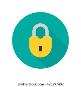 Close lock flat icon. Silhouette lock. Yellow lock isolated on background