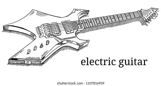 Close up of lying electric guitar. Line art, outline, coloring page isolated on white background. Hand drawn engraving sketchy style vector illustration. Heavy metal, rock music, concert, festival.