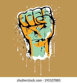 Close up of a male hand with clenched fist, making a rising fist sign or salute. Hand drawn graffiti style.