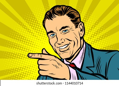close up Man pointing finger. Comic cartoon pop art retro vector illustration drawing