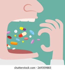 Close up of Man Throw a lot of pills in to his mouth