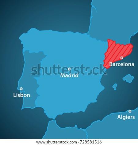 World Map Iberian Peninsula.Close Map Iberian Peninsula Catalonia Highlighted Stock Vector