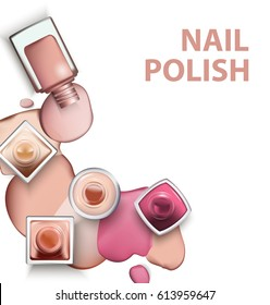 Close up of nail polish with drops of nail polish light pastel shades on white background. Perfect for advertising banners, booklet, magazines. Vector template