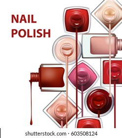 Close up of nail polish flow on white background with clipping path. Perfect for advertising banners, booklet, magazines. Vector template