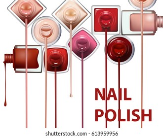 Close up of nail polish flow on white background. Perfect for advertising banners, booklet, magazines. Vector template