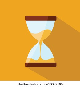 close up on a simple modern classic clean vector Hourglass on flat design style with a sand flowing and trickle in it. time or timer illustration & counting