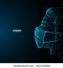 Close up one young man wearing surgical mask. Abstract polygonal adult man. Isolated low poly wireframe digital vector illustration.  Pandemic or Epidemic concept. Virus art
