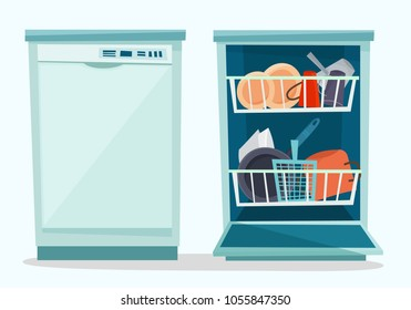 Close and open dishwasher with dishes. Flat cartoon style vector illustration.