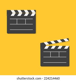 Close and open movie clapper board template icon. Flat design style. Vector illustration