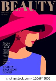 Close up portrait in profile. Abstract young woman wearing big hat and earrings. Woman fashion magazine cover design. Vector illustration