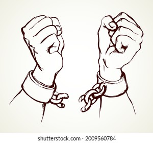 Close up power courage rebel human clench enslave fist fight unchain tear white sky text space. Line black drawn hostage hope metal law tied trap change sin save win protest sign sketch as art cartoon