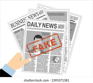 Close up of print newspaper with fake news. Vector illustration