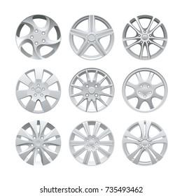 Close up of rims car alloy wheel. Aluminum wheel vector set. Figured alloy rim for car, tracks.