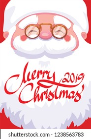 close up of santa claus face and badge merry christmas