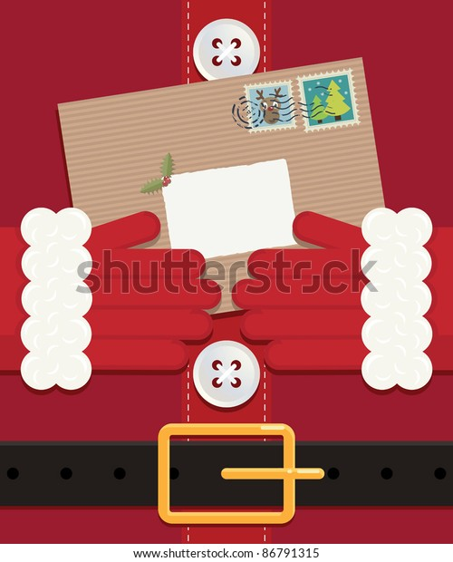 close up of santa holding a letter left blank for your message