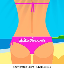Close up of sexy female ass in pink bikini, Hello Summer poster,  vector illustration.