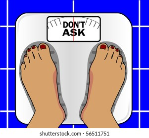 Close up someone standing on a bathroom scale that reads 'Don't Ask'
