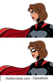 Close up of superheroine over white background and in 2 versions: with mask and unmasked.